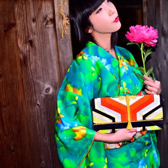 Vintage Japanese Silk KimonoBlack printed Silk KimonoJapanese KimonoBoho Chic Kimono
