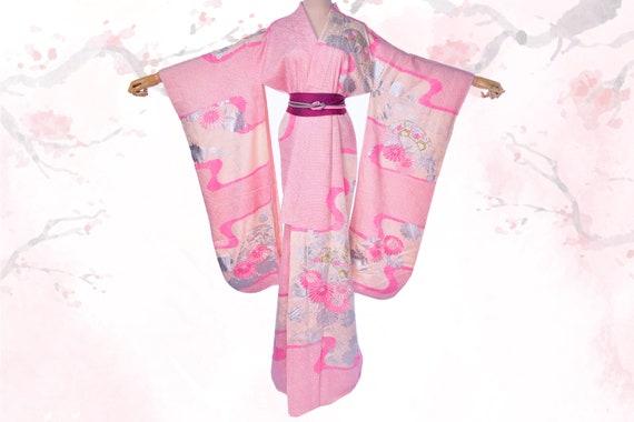 Silk Pink kimono,Japanese Chrysanthemum furisode k
