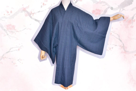 Japanese wool Haori,Kimono,Blue mens kimono ,Cotto
