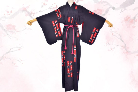 Women's Japanese vintage Navy Blue & Red silk Kimo