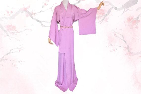 Womens vintage lavender pink silk momiji kimono ro
