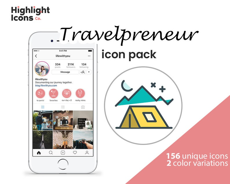156 Coral Travel Instagram Highlight Covers Icons Social Media Etsy