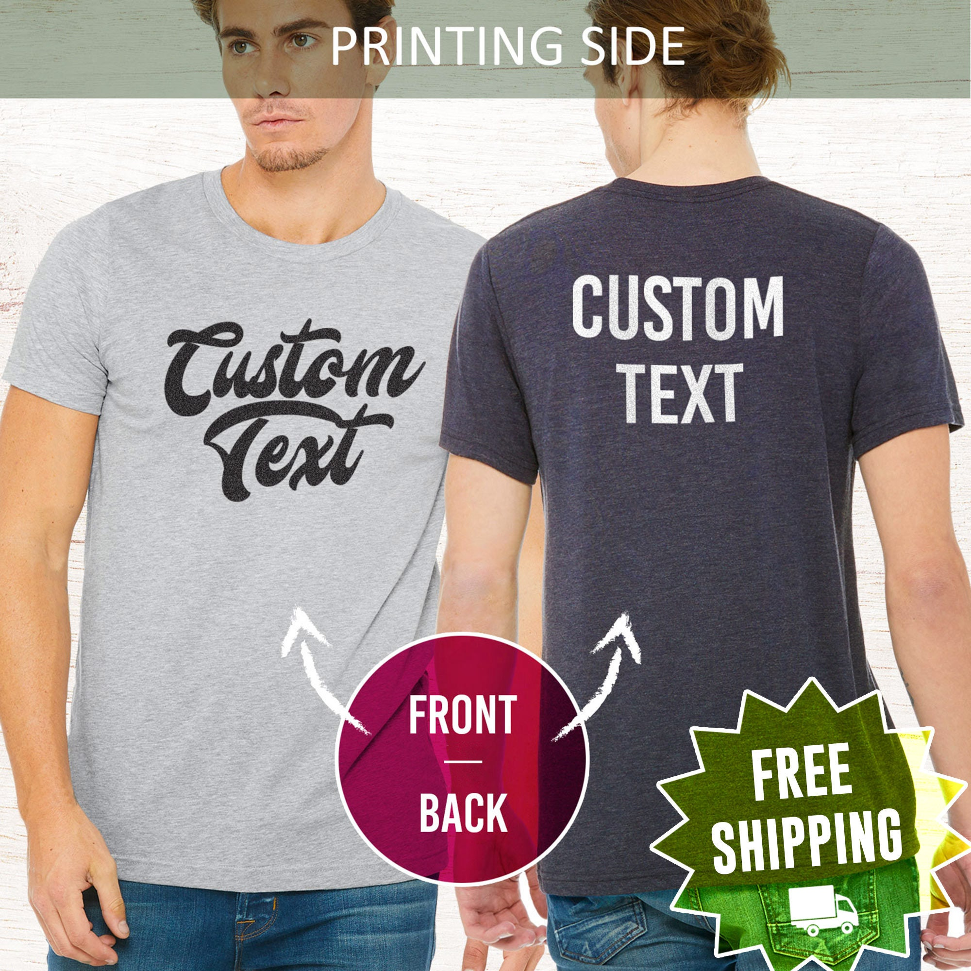 Custom T-shirt Personalized T-shirt Custom Shirt Personalized Shirt Custom Shirt Printing Choose Your Text Men Women Unisex My Text Unisex Tshirt