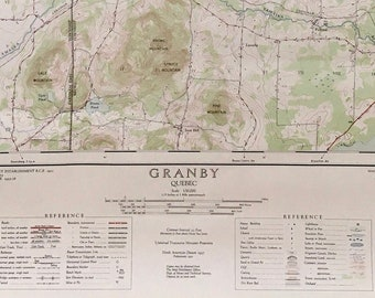 1956 Vintage Map Orford  Lawrenceville  Roxton Township  Stukely  Valcourt  Mines and Technical Surveys  National Topographic Series