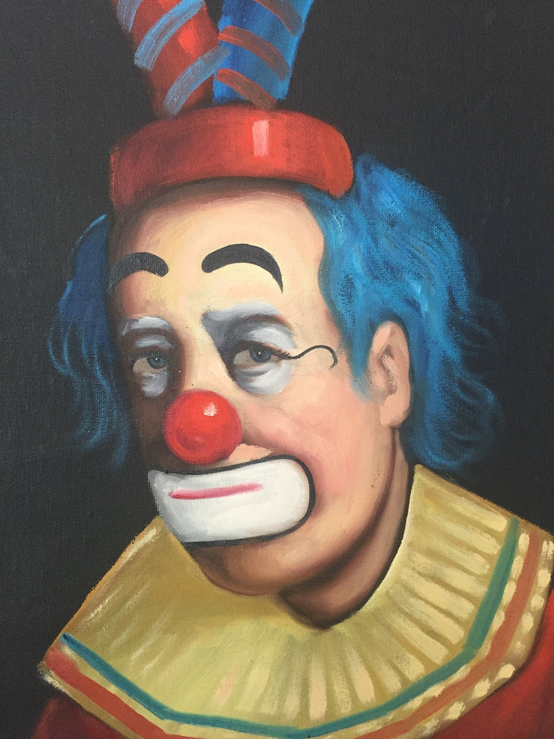 Beautiful Vintage F  Dressen Clown Painting on Canvas