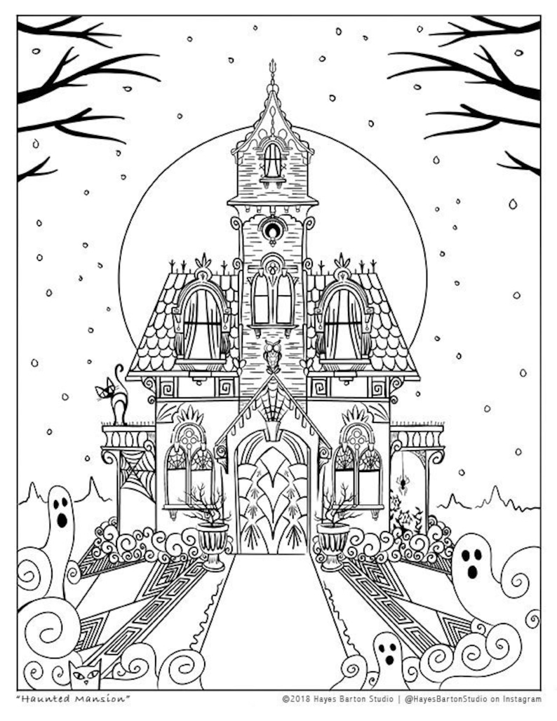 Halloween Haunted Mansion Coloring Sheet, 8 5