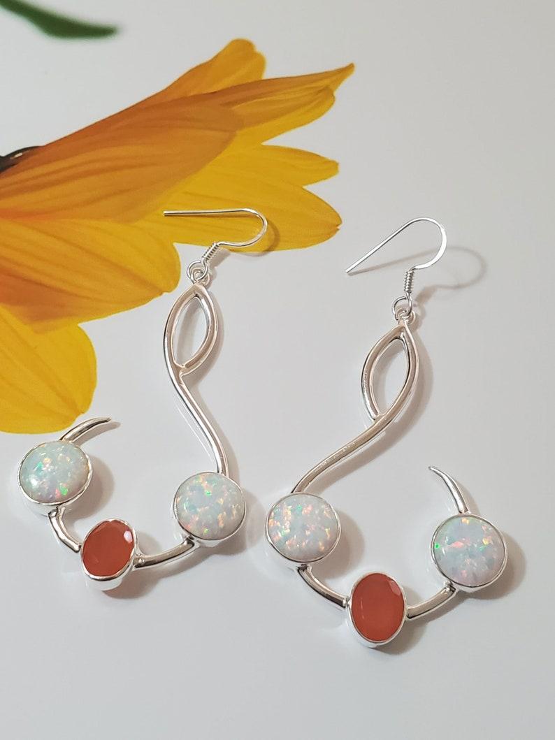 Handmade Dangle Earring Sale Solid Sterling Silver Earring Gift for Her Mothers Day Ethiopian Opal Jewelry Genuine Opal Opal Earring