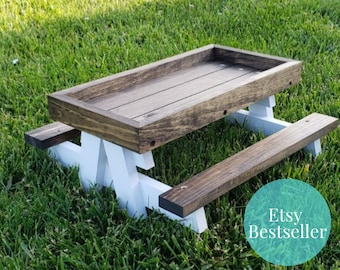 The Original Farmhouse Style Chicknic Table - Chicken Picnic Table - Chicken Coop Assessories -  Chicken Lover Gift