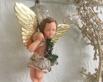 Vintage Wax Angel Christmas Angel Cherub Christmas Pendant Wax Pendant Decoration for Crib