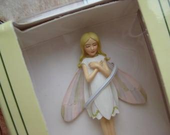 Vintage Flower Fairies Snowdrop Decoration Figurine in Box Elf Fairy Flower Child Cicely Mary Barker Collectible