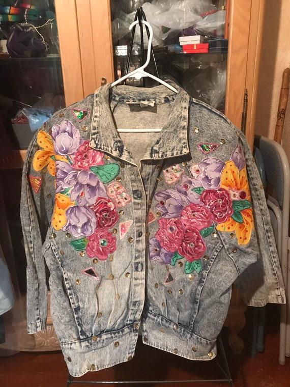 Hand Painted Floral Vintage 1980's Denim Jacket