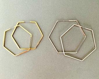 Large Hexagon Metal Hoop Earrings, Lightweight Earrings, Minimalist Geometric Hexagon Hoop, Style Earrings,Statement Earrings, Birthday Gift