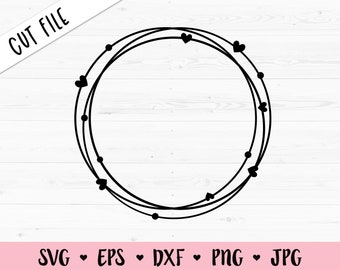 Scalloped Monogram Frame Svg  Circle Monogram Frame  Cutting Files  Commercial Use  Round Frame  Cricut  Silhouette  SVG PNG DXF Pdf