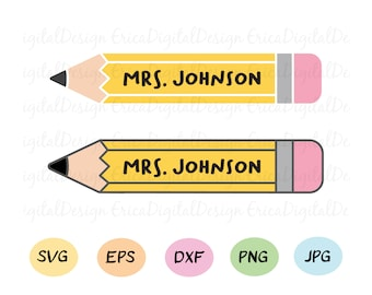 Pencil Name Svg Etsy