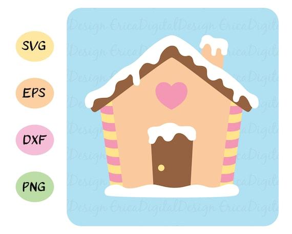 Cute Gingerbread House Svg Kawaii Christmas Cut Files Kawaii Etsy