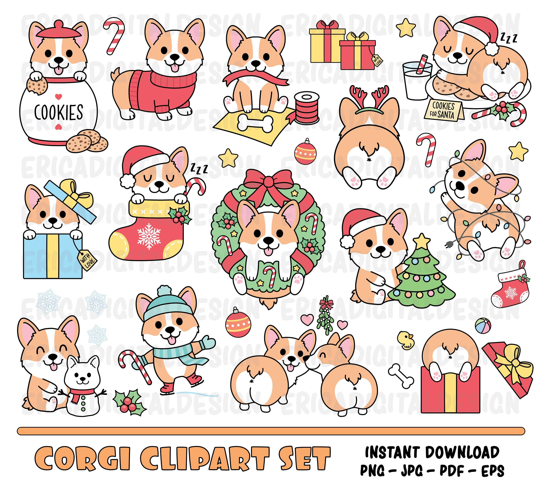 Christmas corgi clipart set Cute corgi digital clipart ... (3000 x 2681 Pixel)