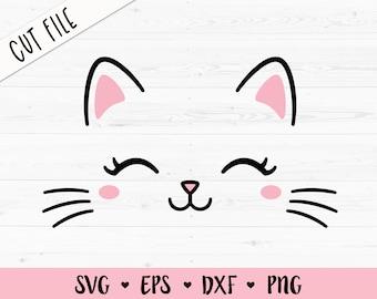 Cat Face SVG Kitten whiskers cut file Cute Kitty Eyelashes Baby cat head Kawaii Birthday Girl Silhouette Cricut Vinyl Shirt Bodysuit Iron on