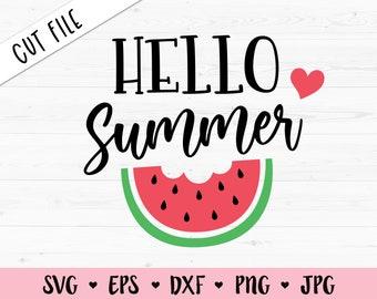 Hello Summer SVG Summer layered cut file Watermelon Melon SVG cutting file Funny Beach Vacation Shirt Summer time Silhouette Cricut Vinyl