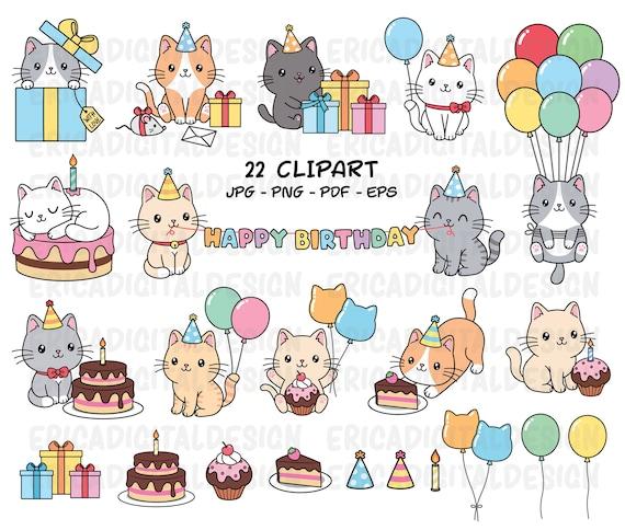 Birthday Cats Clipart Cute Cat Party Clip Art Kawaii Kitten Etsy