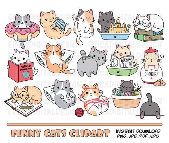 Funny Cats Clipart Cute Cat Clip Art Kawaii Kitten Kitty Icons Etsy