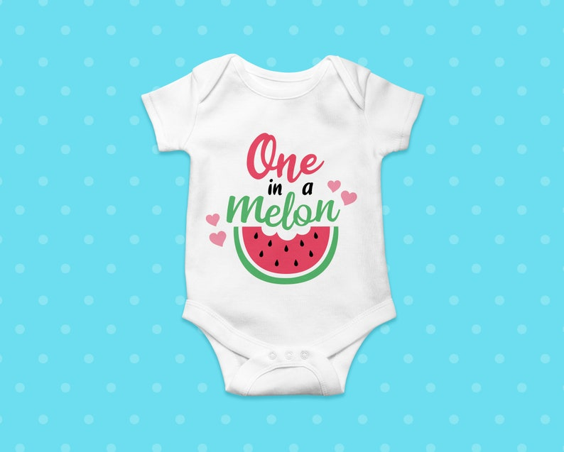 One in a melon SVG Watermelon cutting file 1st First Birthday party vector cut file EPS DXF Silhouette Cameo Cricut Vinyl Iron on onesie