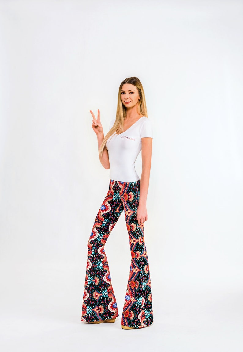 70s High Waist Pattern Flared Pants Colorful Bell Bottoms Hippie Style Boho Pants