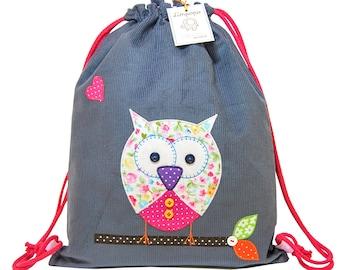 Kindergarten, Personalized Bag for girl - Owl