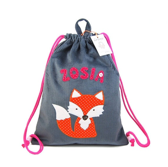 Backpack with fox personalized backpack gift for a girl backpack with a name bag with a name personalized gift