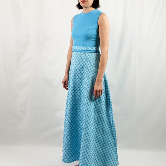 Blue and White 60s Maxi Dress with Polka Dots - image 3