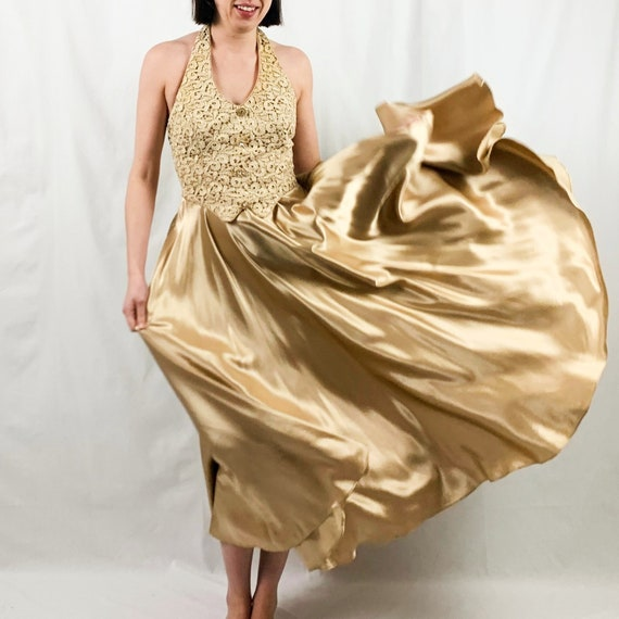 Long Gold Gown Halter Top | Vintage 70s