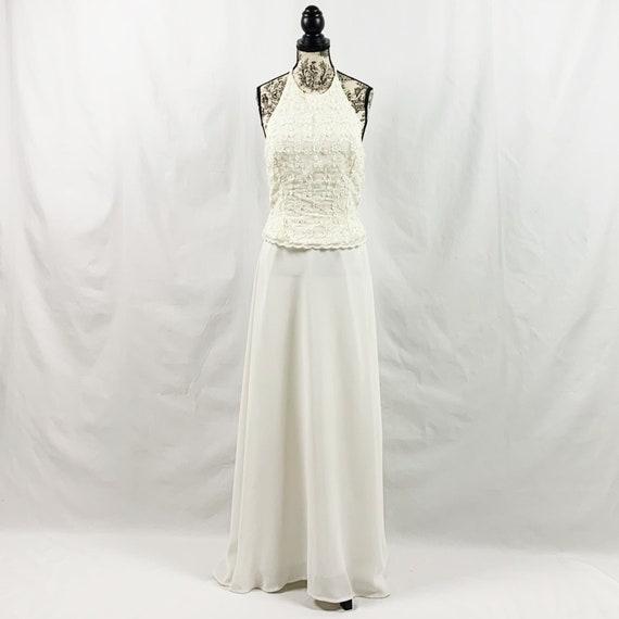 Vintage Scott McClintock Ivory Lace Halter Gown