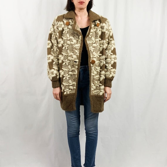 Oversized Mohair Floral Sweater | Vintage 80s | Sp