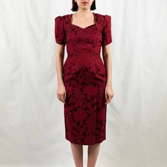 Vintage Scott McClintock Burgundy Brocade Dress