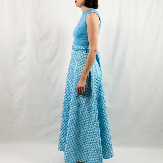 Blue and White 60s Maxi Dress with Polka Dots - image 4