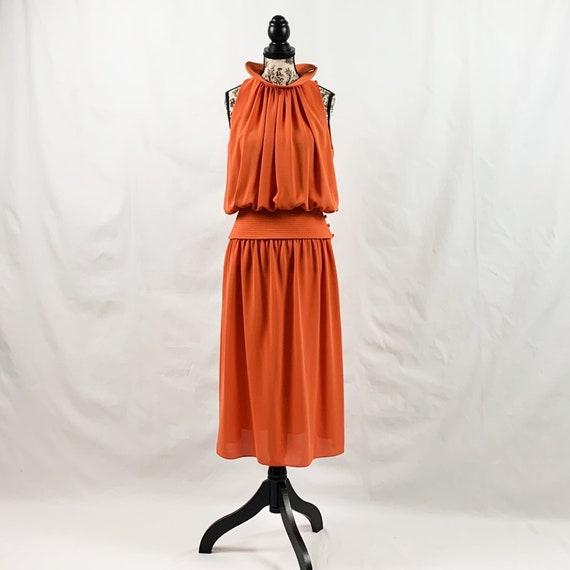 70s Lorraine Beauchamp Orange Two Piece Dress