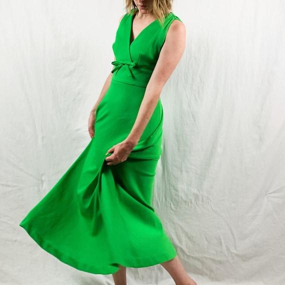 Bright Green 60s Butte Knit Maxi Dress