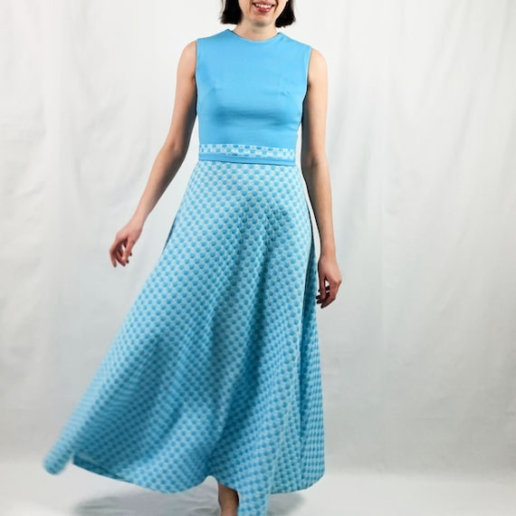 Blue and White 60s Maxi Dress with Polka Dots