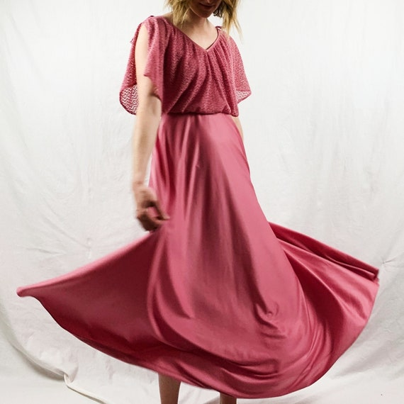 Rose Pink 70s Maxi Dress with Crocheted Flutter Sl