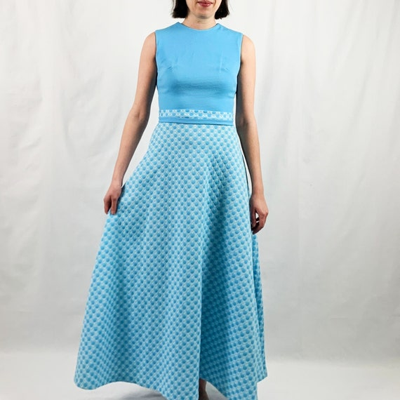 Blue and White 60s Maxi Dress with Polka Dots - image 9