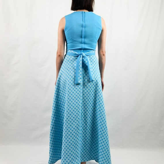 Blue and White 60s Maxi Dress with Polka Dots - image 5