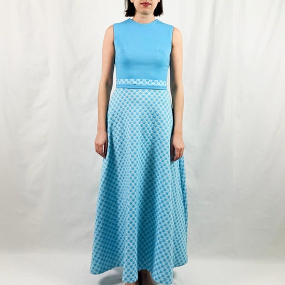 Blue and White 60s Maxi Dress with Polka Dots - image 2