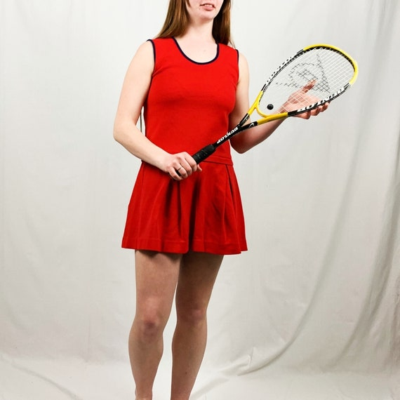60s / 70s Vintage Red Tennis Dress