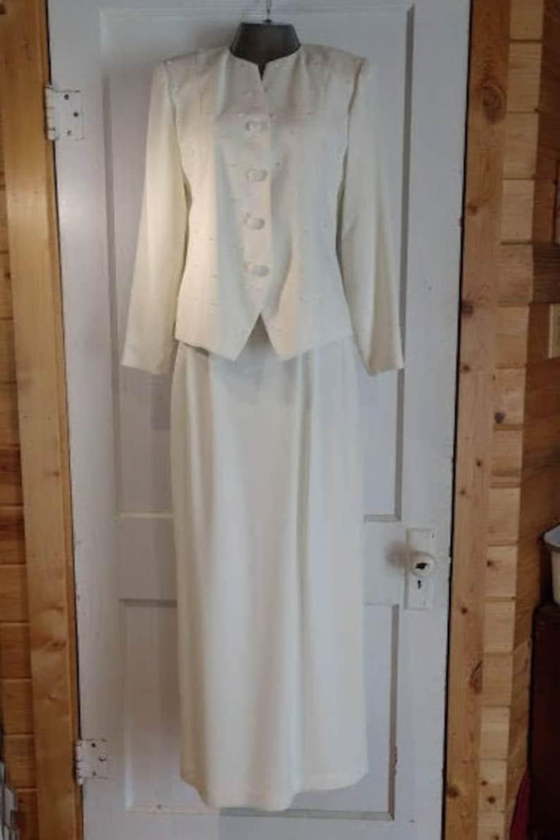 MARILYN GRAHAM Mother of the Bride Dress Jacket Skirt White image 1