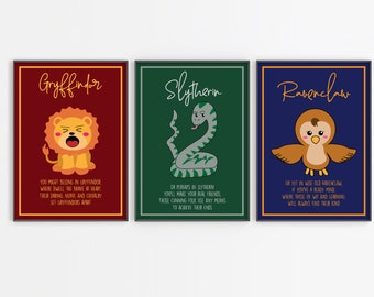 Kawaii Hogwarts Houses Illustrations - Digital print - Vector images