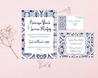 Azulejos patterned wedding set