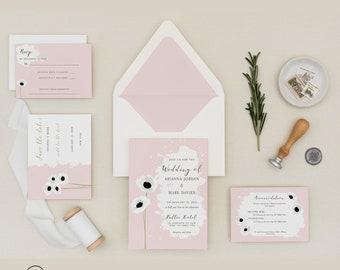 Anemones digital wedding set