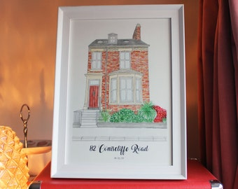 Custom Watercolour House Portrait   House painting, personalised house warming gift, home portrait
