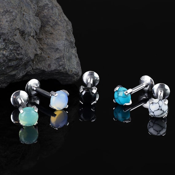 choose color 1pc Opal Ball Surgical Steel Internally Threaded Labret Monroe