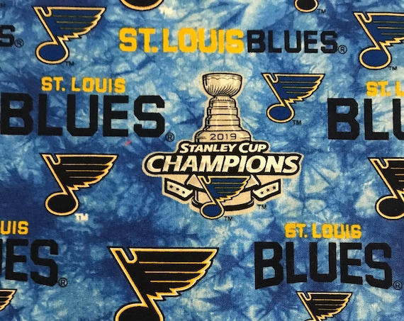 St. Louis Blues Stanley Cup Champions NHL -100% Cotton-By Sykel Inter-Fabrique Innovations-Quilts-Home Decor-Licensed Fabric