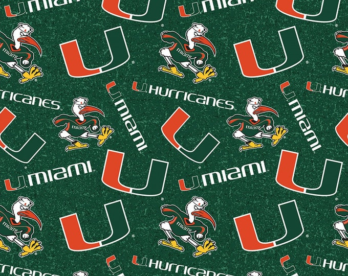 University of Miami Hurricanes Tone on Tone Fabric -100% Cotton-Quilts-Home Decor-Licensed Fabric